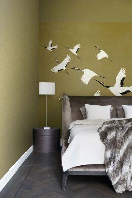 fotomurale uccelli gru giallo ocra