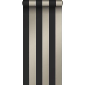 carta da parati strisce nero e bronzo lucente