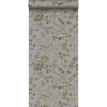 carta da parati fiori grigio talpa e marrone