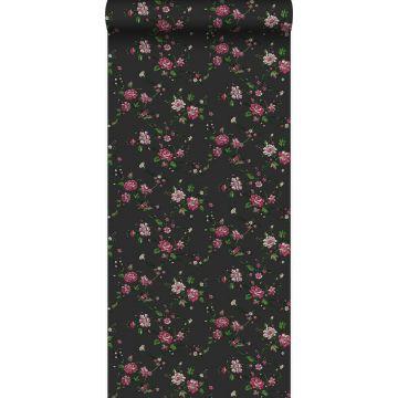 carta da parati fiori nero e rosa