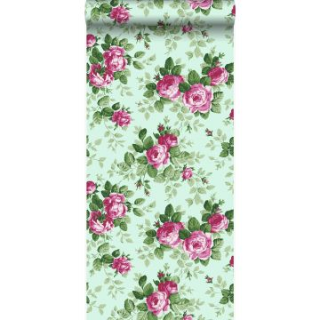 carta da parati rose verde celadon e rosa
