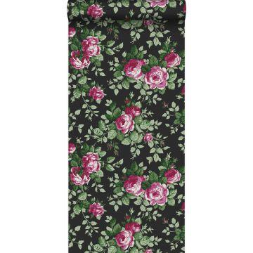 carta da parati rose nero e rosa