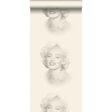 carta da parati Marilyn Monroe bianco e grigio