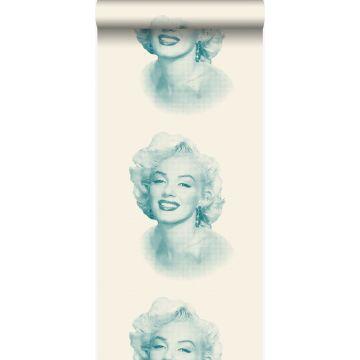 carta da parati Marilyn Monroe bianco e turchese