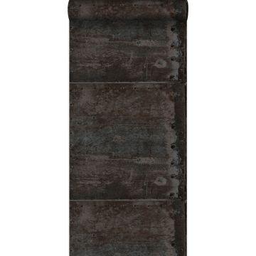 carta da parati grandi lastre metalliche arrugginite alterate e invecchiate dalle intemperie con rivetti nero e perla lucida