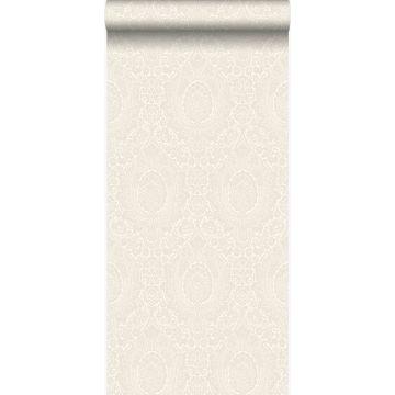 carta da parati ornamento bianco con fiori