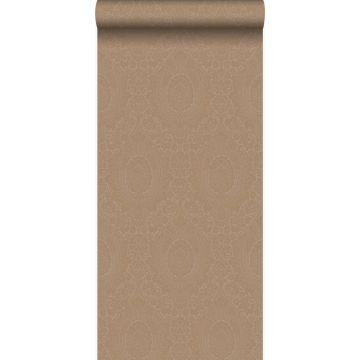 carta da parati ornamento grigio talpa e bronzo lucente