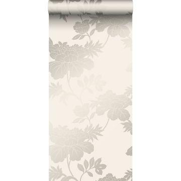carta da parati fiori beige