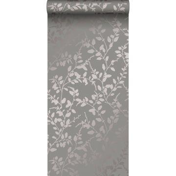 carta da parati foglie grigio talpa