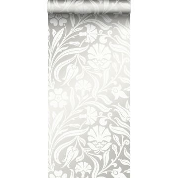 carta da parati fiori bianco sporco