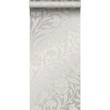 carta da parati fiori grigio