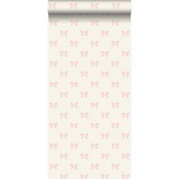 carta da parati piccoli fiocchi bianco e rosa chiaro