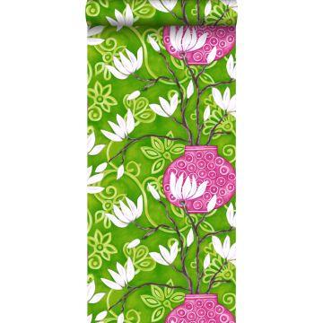 carta da parati magnolia verde e rosa