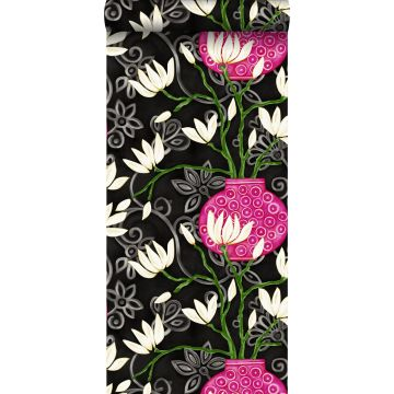 carta da parati magnolia nero e rosa