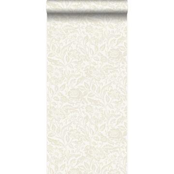 carta da parati fiori bianco antico