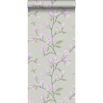 carta da parati magnolia verde mare  e lilla