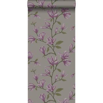 carta da parati magnolia grigio talpa e viola melanzana