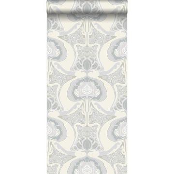 carta da parati motivo floreale art nouveau beige