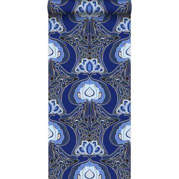carta da parati motivo floreale art nouveau blu reale