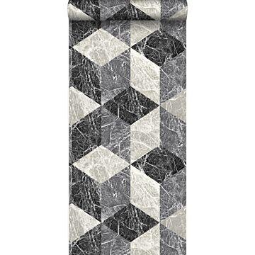 carta da parati motivo marmo 3D nero e grigio