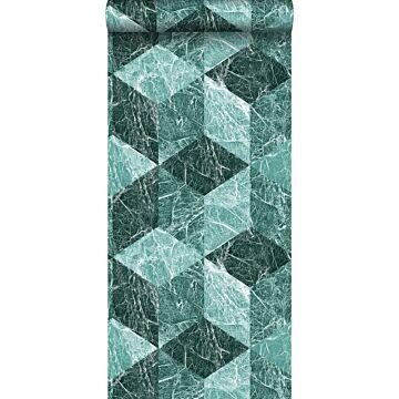 carta da parati motivo marmo 3D verde smeraldo