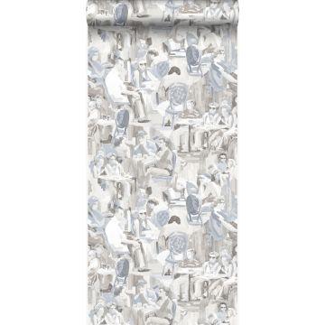 carta da parati disegno astratto grigio di argilla
