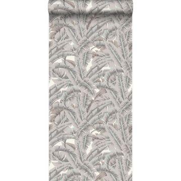 carta da parati foglie di palma grigio di argilla