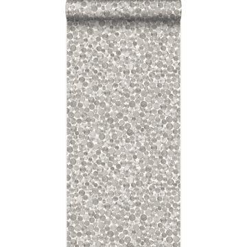 carta da parati monete metalliche bianco avorio e grigio