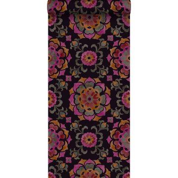 carta da parati fiori Suzani nero, arancione e rosa