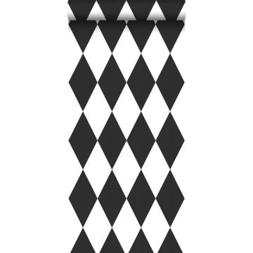 carta da parati rombo bianco e nero