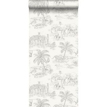 carta da parati disegno a penna di safari bianco lucido e grigio argento
