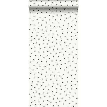 carta da parati fiocci di neve irregolari polka dots bianco lucido e nero