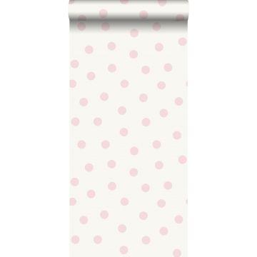 carta da parati puntini rosa lucido e bianco