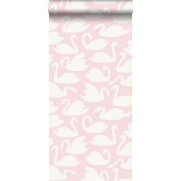 carta da parati cigni rosa e bianco