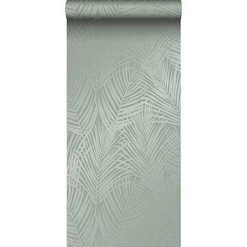 carta da parati foglie di palma verde grigiastro