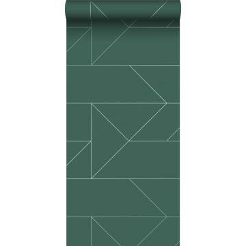 carta da parati linee grafiche verde scuro