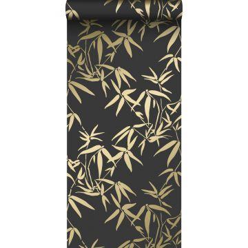 carta da parati foglie di bambù nero e oro