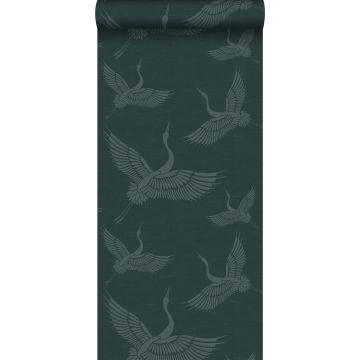 carta da parati uccelli gru blu petrolio