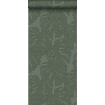 carta da parati foglie con struttura intrecciata verde