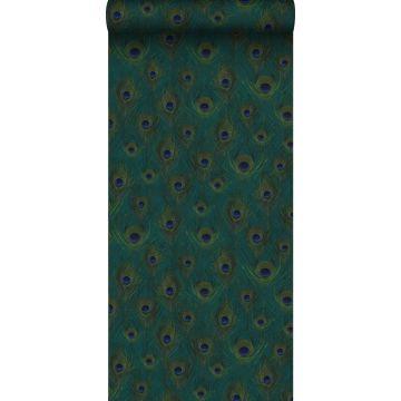 carta da parati tessuto non tessuto struttura eco piume di pavone verde del mare