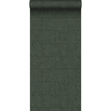 carta da parati effetto di piastrelle con stampa pelle di serpente verde scuro