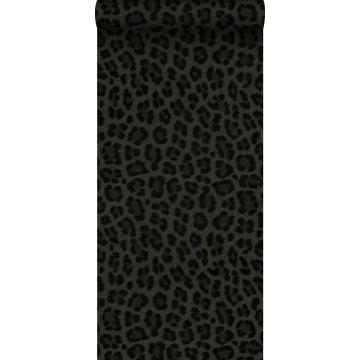carta da parati pelle di leopardo grigio scuro e nero