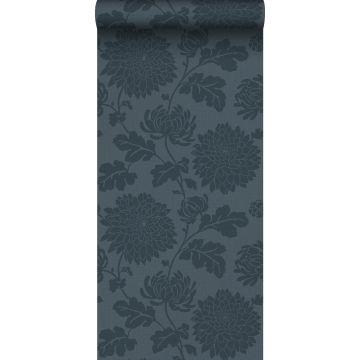 carta da parati fiori blu scuro