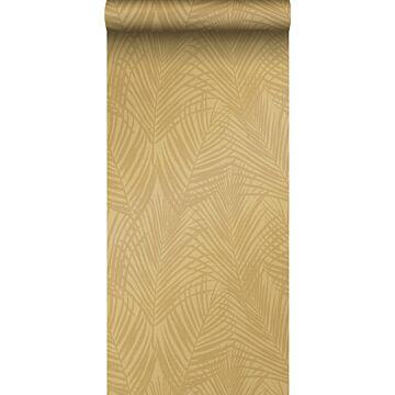 carta da parati foglie di palma giallo ocra