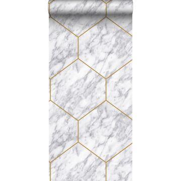 carta da parati esagono con effetto marmo bianco, grigio e oro