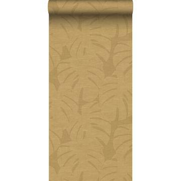 carta da parati foglie tropicali giallo ocra