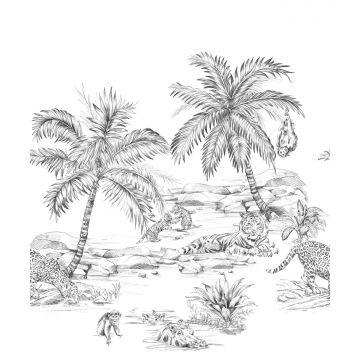 fotomurale disegno a penna di safari bianco e nero