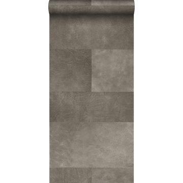 carta da parati XXL in TNT effetto di piastrelle con effetto pelle grigio caldo