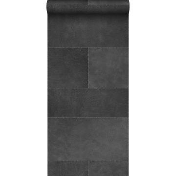 carta da parati XXL in TNT effetto di piastrelle con effetto pelle grigio scuro