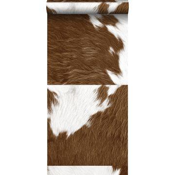 carta da parati XXL in TNT effetto pelle di mucca marrone e bianco